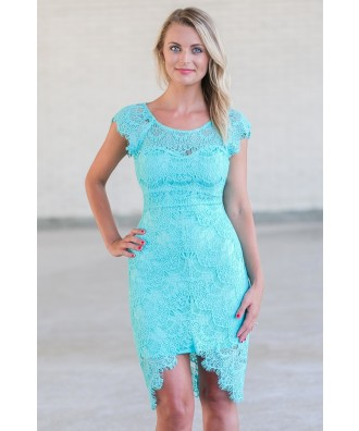 Turquoise Teal Lace Sheath Dress, Cute Lace Cocktail Dress, Summer Dress