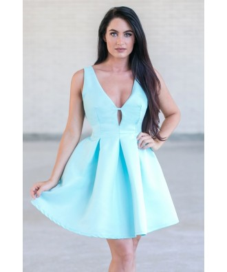 Cute Pale Blue A-Line Party Dress, Cute Juniors Cocktail Dress Online