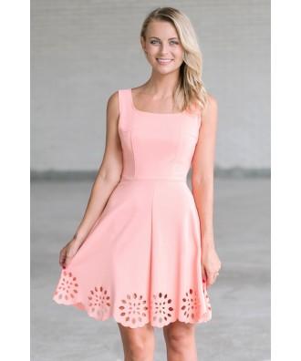 Peach A-Line Summer Dress, Cute Party Dress