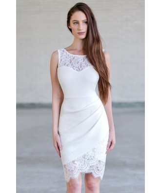 Cute Off White Lace Bodycon Dress