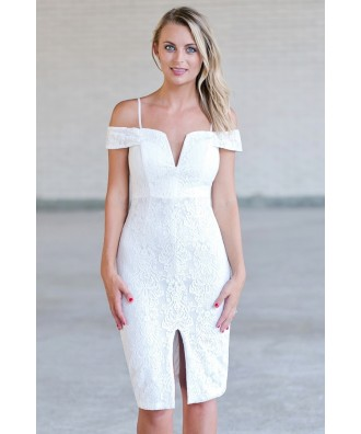 Off White Lace Pencil Dress, Cute Cocktail Dress