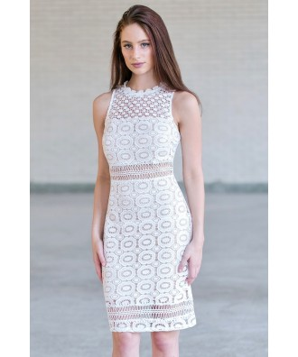 Ivory Crochet Lace Sheath Dress, Cute Rehearsal Dinner Dress