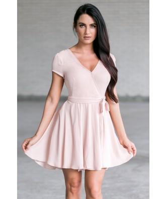 Pale Pink Wrap Dress, Cute Summer Dress Online