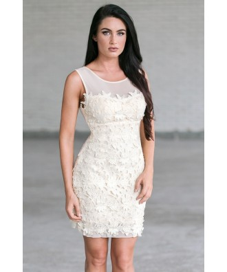 Ivory Lace Sheath Dress, Cute Rehearsal Dinner Dress