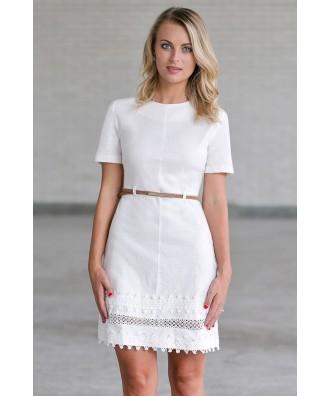 Cute White Belted Dress, Juniors Summer Dress Online
