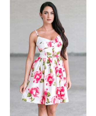 Pink and White Floral Print A-Line Sundress, Cute Summer Dress