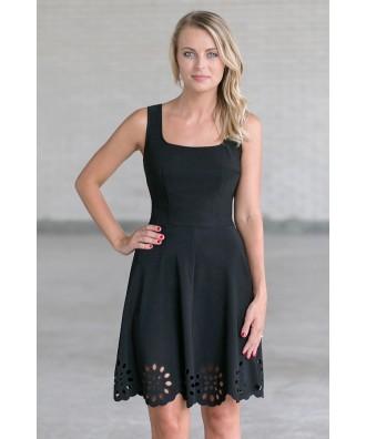 Black A-Line Party Dress, Cute Little Black Dress
