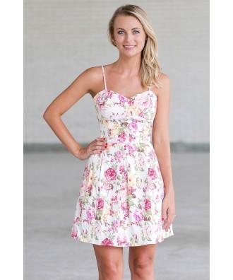Pink and White Floral Print Summer Dress, Cute Juniors A-Line Sundress