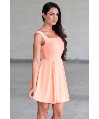 c4bd6d1418b A Closer Look. Neon Orange Coral Scalloped A-Line Summer Dress