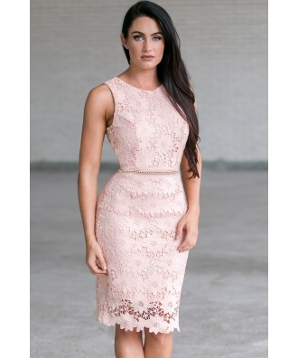 Peach Lace Sheath Dress, Cute Pale Pink Lace Cocktail Dress