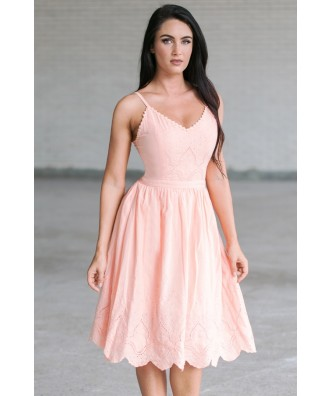 Peach Pink A-Line Summer Midi Dress, Juniors Sundress