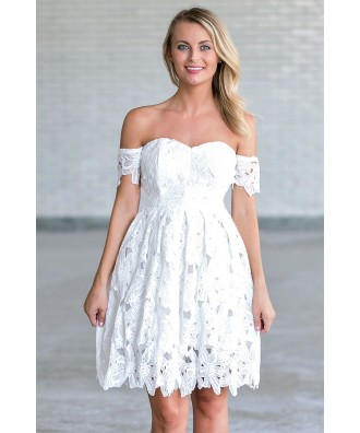 Off White Crochet Lace Off Shoulder Dress, Cute Rehearsal Dinner Dress, Bridal Shower Dress