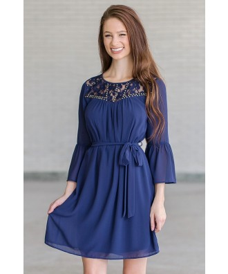 Navy Bell Sleeve Studded Dress, Cute Fall Dress Online