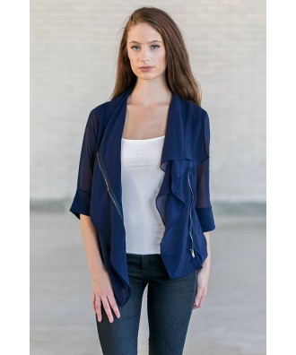 Navy Chiffon Jacket, Cute Navy Blazer