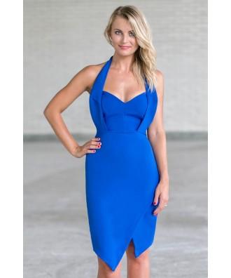 Bright Royal Blue Halter Dress, Cute Juniors Cocktail Dress Online