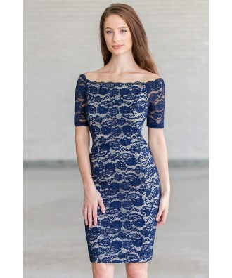 Navy lace pencil dress, navy cocktail dress