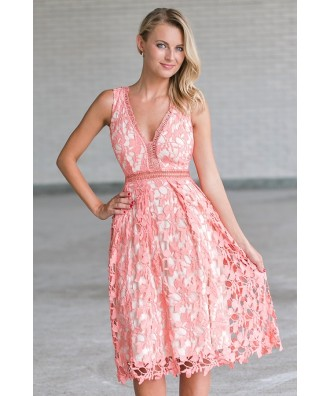 Coral Pink Lace A-Line Dress, Cute Pink Lace Bridesmaid Dress
