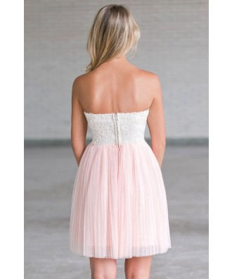 Pink Tulle Rose Dress, Cute Pink Bridesmaid Party Dress