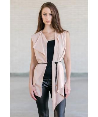 Blush Pink Open Vest, Cute Boho Summer Vest
