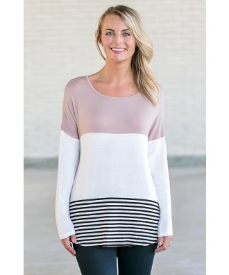 Taupe Colorblock Top, Game Day Outfit