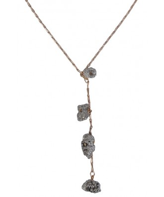 Cute Gold Pyrite Necklace, Boho Jewelry