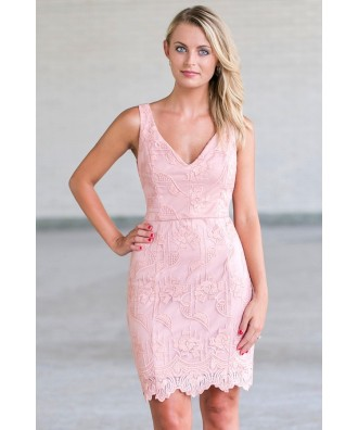 Pink Lace Sheath Dress, Cute Pink Juniors Dress