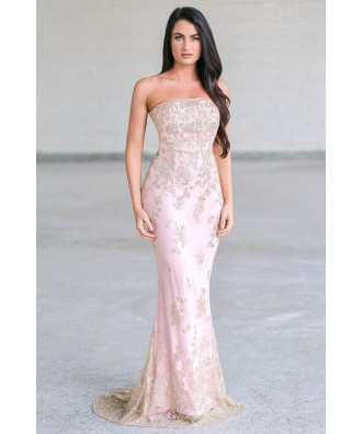 Rose pink and gold maxi prom dress, Formal pink gown