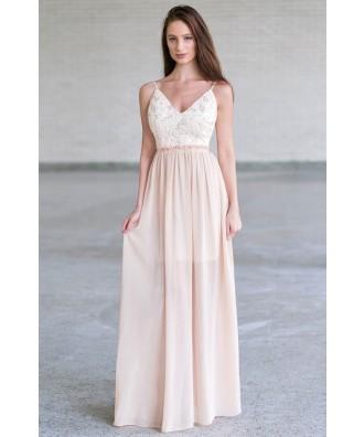 Beige and ivory open back maxi dress, cute boho maxi dress