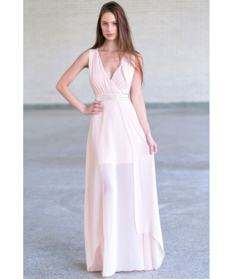 Pink Peach Maxi Dress, Embellished Maxi Bridesmaid Dress