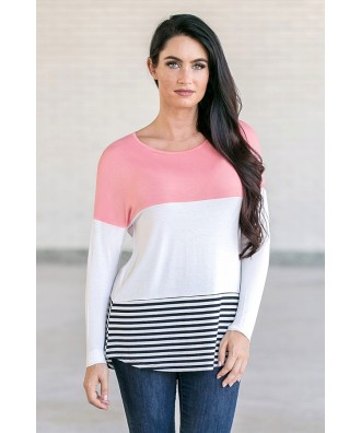 Coral Pink Colorblock Top, Cute Game Day Outfit