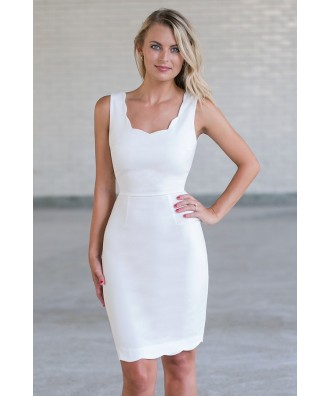 Ivory Scalloped Sheath Dress, Cute work dress