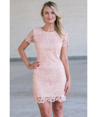 Pink lace sheath Dress, Cute pink Juniors Dress Online