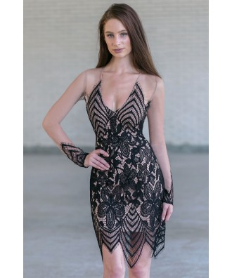 Black Lace and Mesh Party Dress, Cute Cocktail Dress