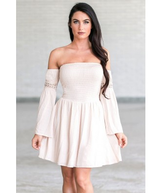 Cute Cream Blush Off the Shoulder Fall Boho Festival Dress