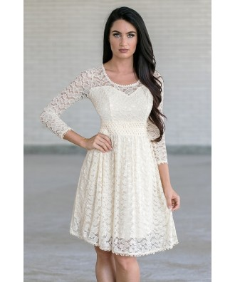 Cream Lace Rehearsal Dinner Dress