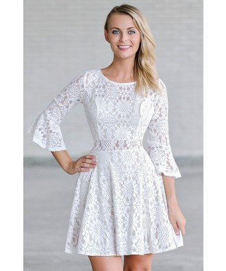 White Lace Bell Sleeve Festival Boho Dress