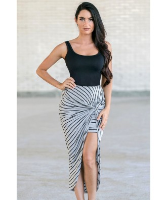 Grey and Black Stripe Skirt, Cute Summer Skirt