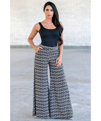 Black Printed Palazzo Pants, Cute Pants