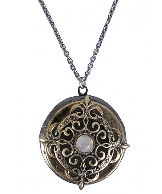 Gold and Silver Grey Locket Necklace