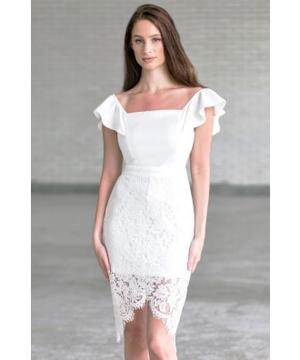 Off White Off Shoulder Dress, Cute Rehearsal Dinner Dress
