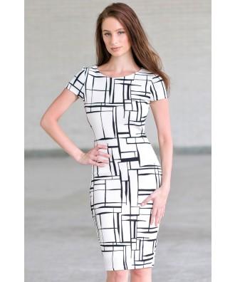 Cute Work Dress, Black and White Printed Sheath Dress