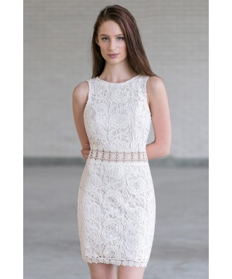 Beige Cream Lace Sheath Dress, Cute Beige Dress, Cute Summer Dress