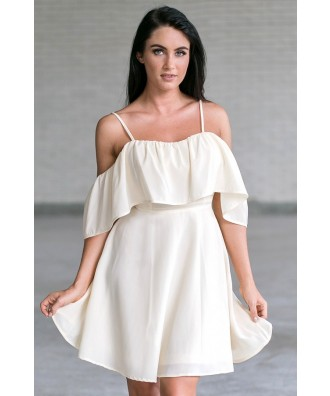 Cream Off Shoulder Ruffle Dress Online, Cute Summer Dress