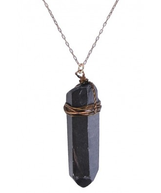 Gold and Black Tourmaline Crystal Pendant