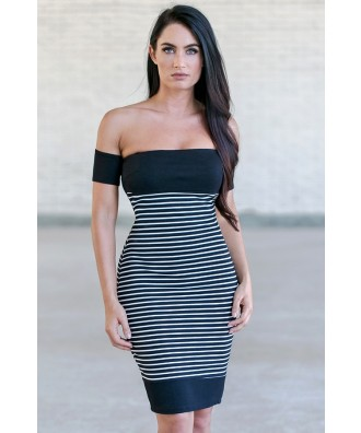 Black and White Stripe Off Shoulder Dress
