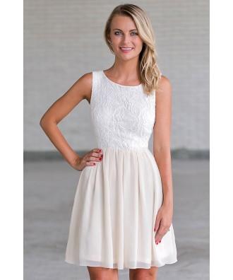 Beige and Cream A-Line Dress, Bridal Shower Dress