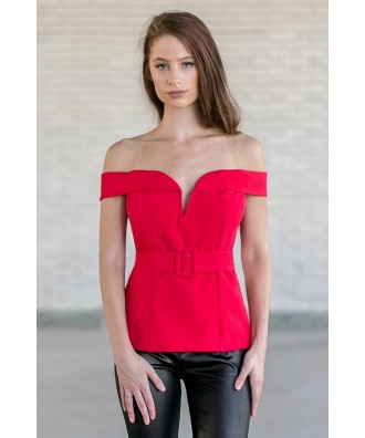 Red Off The Shoulder Holiday Top