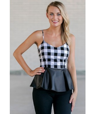 Black and White Plaid Peplum Top