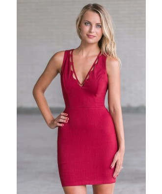 Wine Red Fitted Dress, Cute Wine Red Bodycon Dress