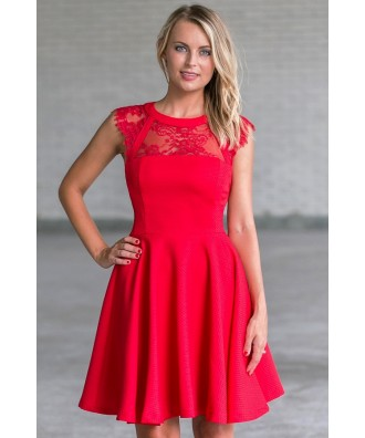 Red Lace A-Line Dress, Cute Holiday Party Dress